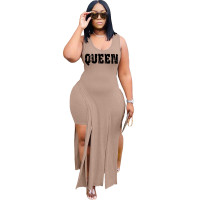 Solid Color Apricot Sleeveless Printed Two Piece Set Slit Long Dress and Shorts