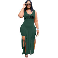 Solid Color Green Sleeveless Printed Two Piece Set Slit Long Dress and Shorts