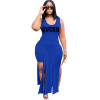 Solid Color Blue Sleeveless Printed Two Piece Set Slit Long Dress and Shorts