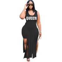 Solid Color Black Sleeveless Printed Two Piece Set Slit Long Dress and Shorts