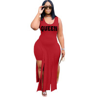 Solid Color Red Sleeveless Printed Two Piece Set Slit Long Dress and Shorts