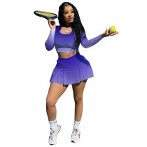 Gradient Women Tennis Suit Fashion Sexy Vest Crop Top Shorts Skirts