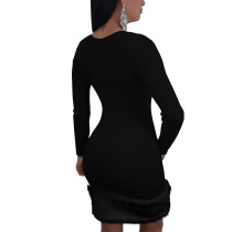 Fur Trim Wiggle Club Dress
