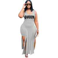 Solid Color Grey Sleeveless Printed Two Piece Set Slit Long Dress and Shorts
