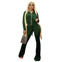 Solid Color Green High Neck Zipper Crop Top & Drawstring Flared Pants with 4 Pocket