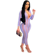 Casual Purple Mesh See Through Jumpsuit