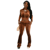 Solid Color Coffee High Neck Zipper Crop Top & Drawstring Flared Pants with 4 Pocket