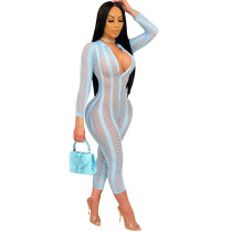 Casual Mesh See Through Jumpsuit