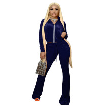 Solid Color Royal Blue High Neck Zipper Crop Top & Drawstring Flared Pants with 4 Pocket
