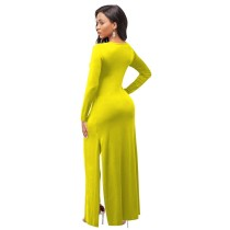 Solid Color Yellow Cross-cut Blouse and Trousers