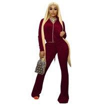 Solid Color Wine Red High Neck Zipper Crop Top & Drawstring Flared Pants with 4 Pocket