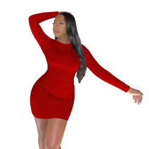 Sexy Red Stacked Backless Nightclub Pleated Club Dress