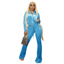 Solid Color Light Blue High Neck Zipper Crop Top & Drawstring Flared Pants with 4 Pocket