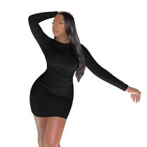 Sexy Stacked Backless Nightclub Pleated Club Dress