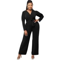Solid Color Black Playsuit For Women V Neck Puff Sleeve Jumpsuit With Belt