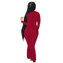 Solid Color Red Turndown Neck Invisible Zipper Jumpsuit with Tassel