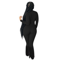 Solid Color Black Turndown Neck Invisible Zipper Jumpsuit with Tassel
