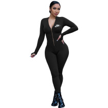 Casual Letter Purography Zipper Sports One Piece Yoga Clothes Jumpsuit
