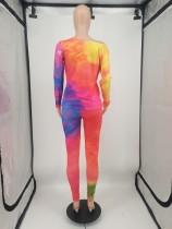 Casual Tie-dye Print Two Piece Women Set