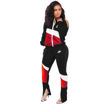 Cold Shoulder Stitching Printed Sportswear Sets