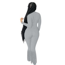 Solid Color Grey Turndown Neck Invisible Zipper Jumpsuit with Tassel