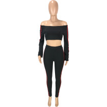 Solid Color Tracksuit Off Shoulder Crop Top and Trousers