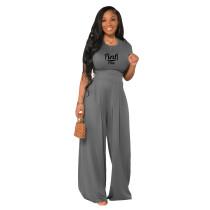 Grey Cotton Printed Plain Short Sleeve Crop Top & Wide Leg Pants Set