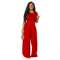 Red Cotton Printed Plain Short Sleeve Crop Top & Wide Leg Pants Set