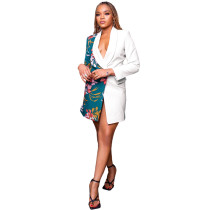 Casual White Turn-down Neck Deep V Printed Pocketed Women Jacket