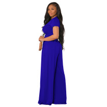 Royal Blue Cotton Printed Plain Short Sleeve Crop Top & Wide Leg Pants Set