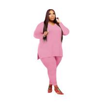 Pink V Neck Solid Color Plus Size Split Casual Set