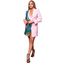Casual Pink Turn-down Neck Deep V Printed Pocketed Women Jacket