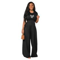 Black Cotton Printed Plain Short Sleeve Crop Top & Wide Leg Pants Set