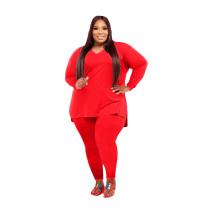 Red V Neck Solid Color Plus Size Split Casual Set