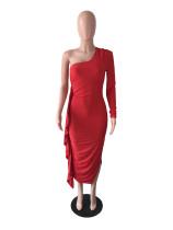 Red Ruffles One Sleeve Bandage Stacked Maxi Dres