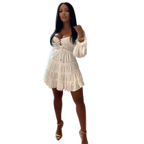 Solid Color White Lace-up Cut-out Ruffle Mini Dress