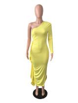 Yellow Ruffles One Sleeve Bandage Stacked Maxi Dres