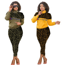 Fashion High Neck Camouflage Printed Two Piece Pant Set