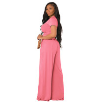 Pink Cotton Printed Plain Short Sleeve Crop Top & Wide Leg Pants Set