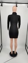Autumn Black Letter Pyrography High Collar Printed Mini Dress