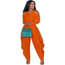 Solid Color Orange Cold Shoulder Loose Hem Jumpsuit