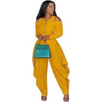 Solid Color Yellow Cold Shoulder Loose Hem Jumpsuit