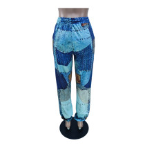 Color Block Print Slacks Drawstring Trousers