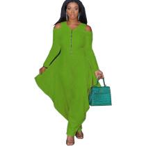 Solid Color Green Cold Shoulder Loose Hem Jumpsuit