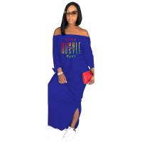 Autumn Vestido Fashion Blue Off The Shoulder Slit Printed Maxi Dress