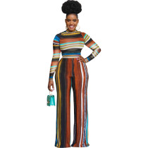 Casual High Neck Striped Two Piece Set