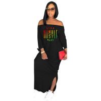 Autumn Vestido Fashion Black Off The Shoulder Slit Printed Maxi Dress