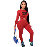 Fall Red Printed Nike Stacked Pants Sets For Women