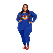 Fat Women Blue Printed Plus Size 5XL Split Two Piece Outfits