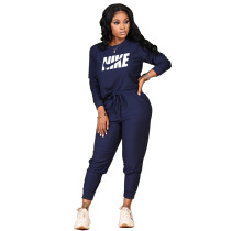 Women Navy Blue Fall Clothes Printed Sports Drawstring Trousers Set with Pockets